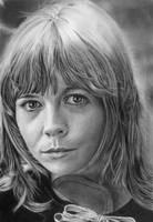 Pencil portrait of Katy Manning (Jo Grant) by LateStarter63