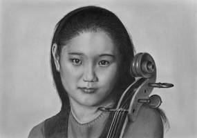 Pencil portrait of Han-Na Chang, cellist, age 13 by LateStarter63