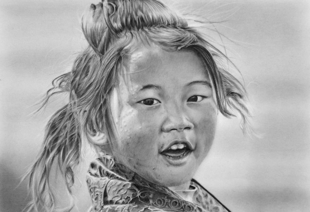Pencil portrait of a Tibetan Girl by LateStarter63