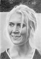 Pencil portrait of Rebecca, marathon runner by LateStarter63