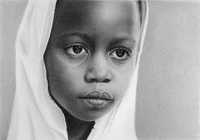 Pencil portrait of a Tanzanian girl by LateStarter63