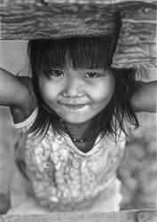 Pencil portrait of Tam Nhu in a dress by LateStarter63