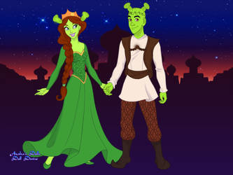 Arabian Nights Scene Maker Shrek and Fiona by YoshiHorse