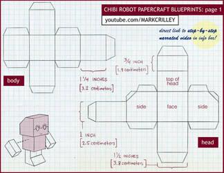 Chibi Robot Papercraft Blue Print 1 by markcrilley