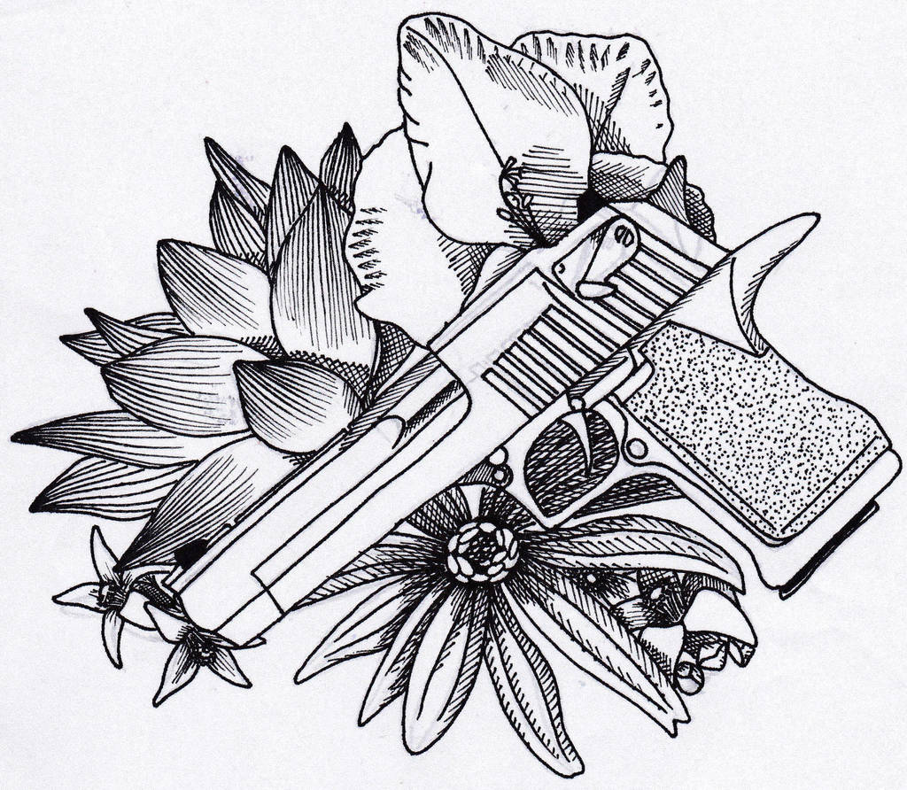 Gun And Flowers Tattoo Design By Violetbluejaye On Deviantart