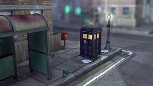 Post box, Lamp post and Tardis by Lemiken7