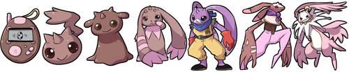 Digimon Squiby Evolution Line by krokus00