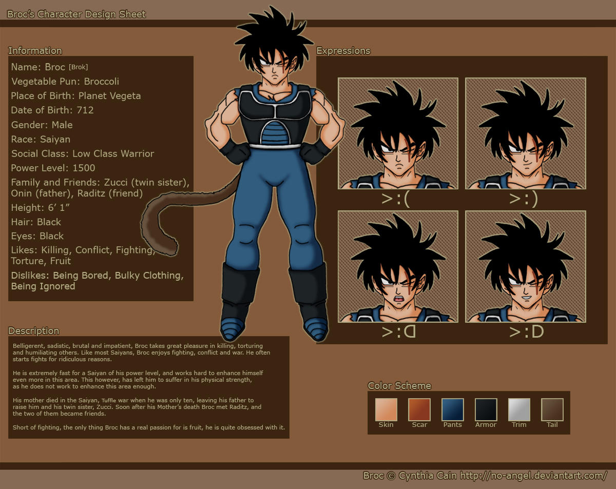 Saiyan Broc Character Sheet By Ccsindil On Deviantart