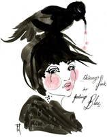 Pink Black Bird by OhAnneli