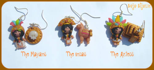 Mayan girl and co Earrings by Bojo-Bijoux
