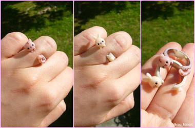 Cat and bunny stud rings by Bojo-Bijoux