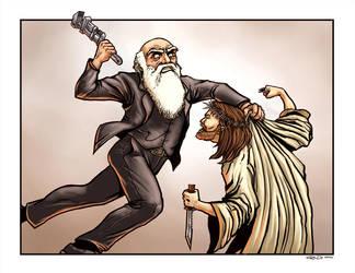 Darwin Vs Jesus by ra3ndy