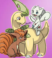 Bayleef, Togetic, and Vulpix by skeletall