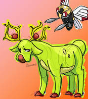 Ninjask and Shiny Stantler by skeletall