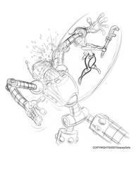 Sketchbook(Evie H Robot battle) by dagracey