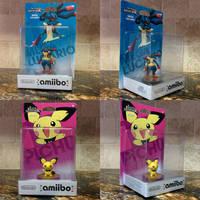 Custom amiibo Figures - Mega Lucario and Pichu by MisterAlex