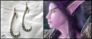 Night Elf Earrings by FrozenDreamer