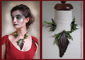 Goddess Athena Necklace - Leather and Fabric by ImogenSmid