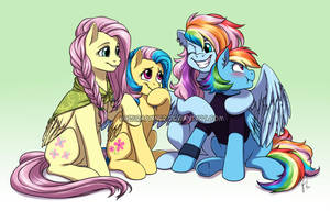 Fluttershy and Rainbow's Family by HazuraSinner