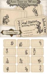 Printable editable Alice in Wonderland Tickets by VectoriaDesigns