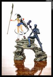 Lady Armaroid and Unchou Kan-u by KaJu-MANIA