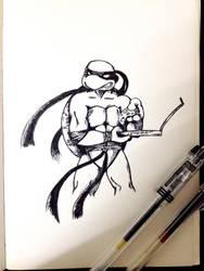 Ninja Turtle and pizza by stephensaw