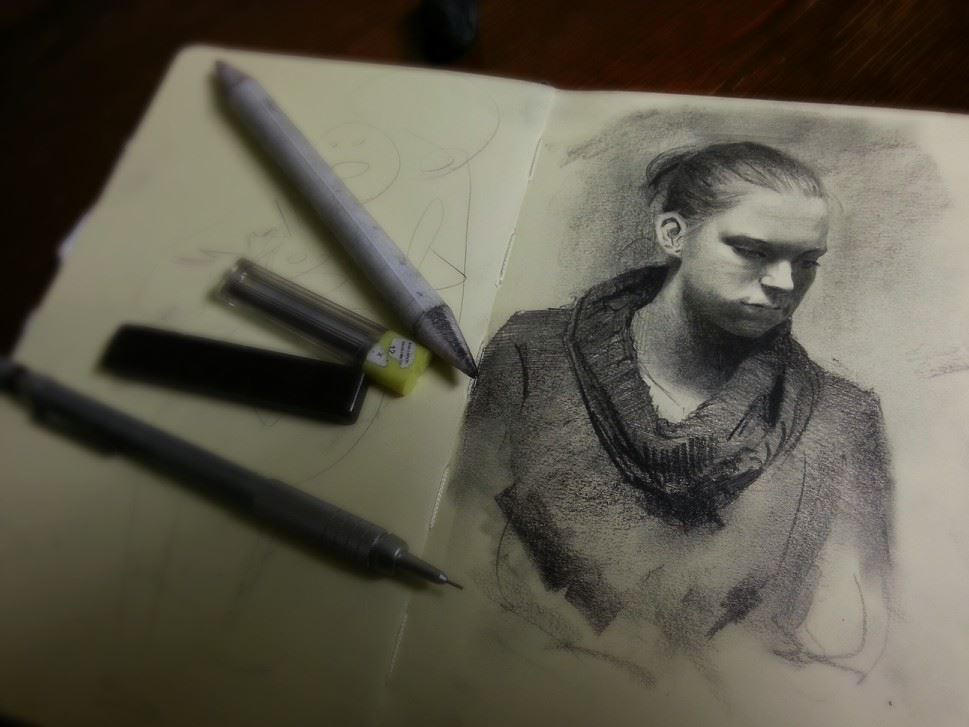 Moleskine portrait -Eva by Miles-Johnston