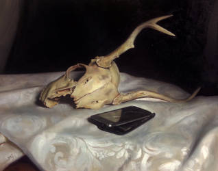 Still life with broken skull and phone by Miles-Johnston