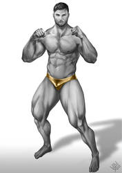 Commission: The Man with the Golden Trunks. by HyperCHANG