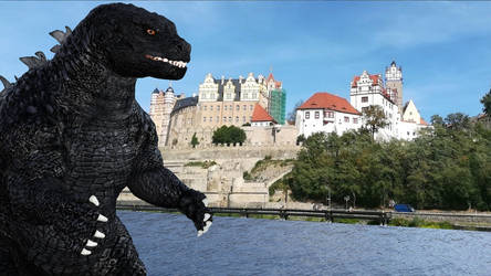 Godzilla visiting Bernburg (Saale) in Germany by Spino2006
