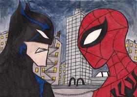 batman vs spiderman by stupidboy187