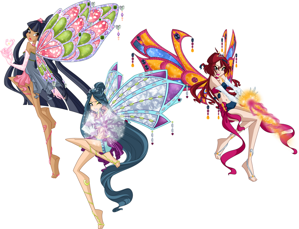 CC: Mirta, Ahisa and Alice Fight by GardenOfDaisy