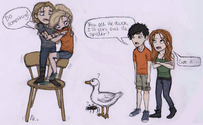 Jace and Annabeth vs The Spider and The Duck by Deesney
