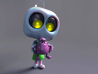 Zbrush Doodle Day 871 - Robot kid series 22 by UnexpectedToy