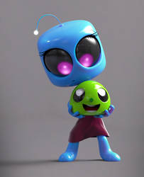 Zbrush Doodle Day 909 - Robot Kid Series 31 by UnexpectedToy
