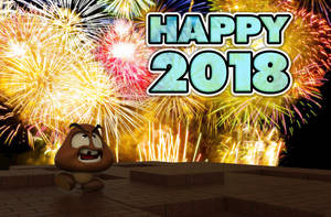 Zbrush Doodle: Day 1100 - Happy 2018 Goomba by UnexpectedToy