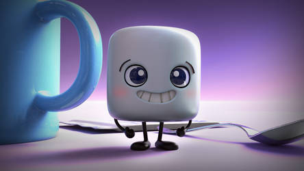 Zbrush Doodle: Day 1345 - Excited Marshmallow by UnexpectedToy