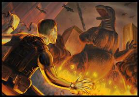 Godzilla attack by SaturnHaynes
