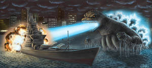 Godzilla battle at sea by SaturnHaynes