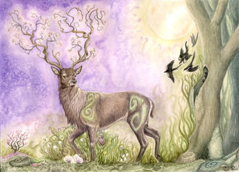 Stag of spring by LarimarDragon