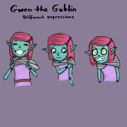Gwen the Goblin - Expressions 1 by Freksama