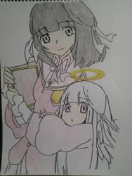 Kami nomi zo Shiru Seka :shiori and minerva by Dark-Dragon-Knight1
