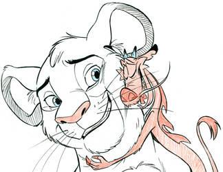 Mushu and Simba by tombancroft