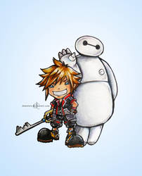 Sora and Baymax by demeters
