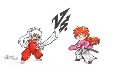 Inuyasha Vs. Kenshin by demeters