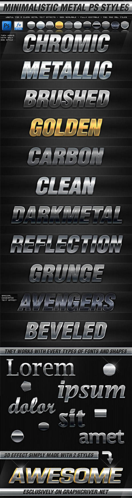 Minimalistic Metal Photoshop Layer Styles by KoolGfx