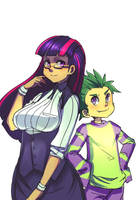 Twilight And Spike H by ManiacPaint