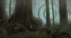 Ancient Mechanism in the forgotten forest by arenirart