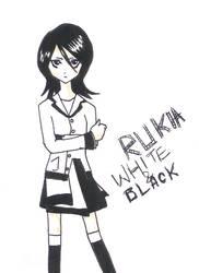 Kuchiki Rukia-white and black by Qurtii