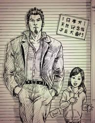 Kazuma and Hakura sketch by guilhermerw